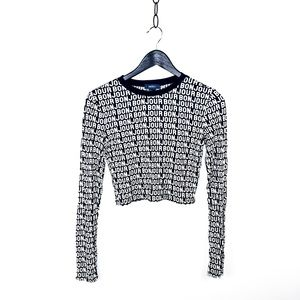 Forever 21 bonjour graphic crop top size s